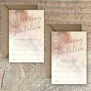 WEDDING-INVITATIONS-BLANK-ROSE-GOLD-amp-MOCHA-MARBLE-PRINT-EFFECT-PACKS-OF-10