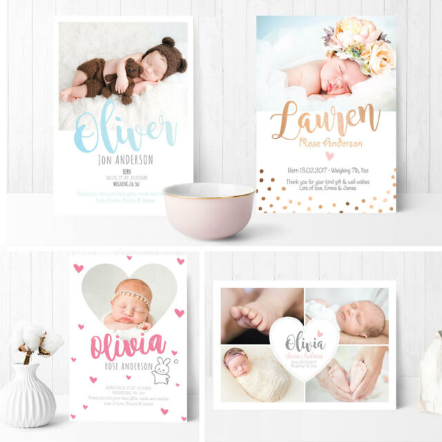 Personalised New Baby Cards Scan Cards Boy Girl Birth Announcement