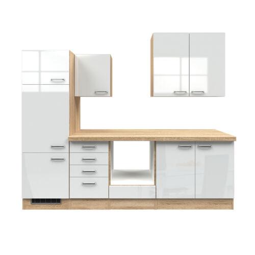 sonoma Küchen-Spülenschrank VENEDIG Spülschrank 2 Türen 100 cm hochglanz weiss