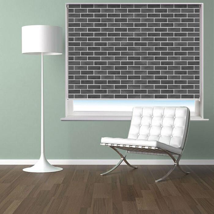 Persiana Enrollable de imagen impresa oscuro efecto de parojo de ladrillo ciego apagón Ventana