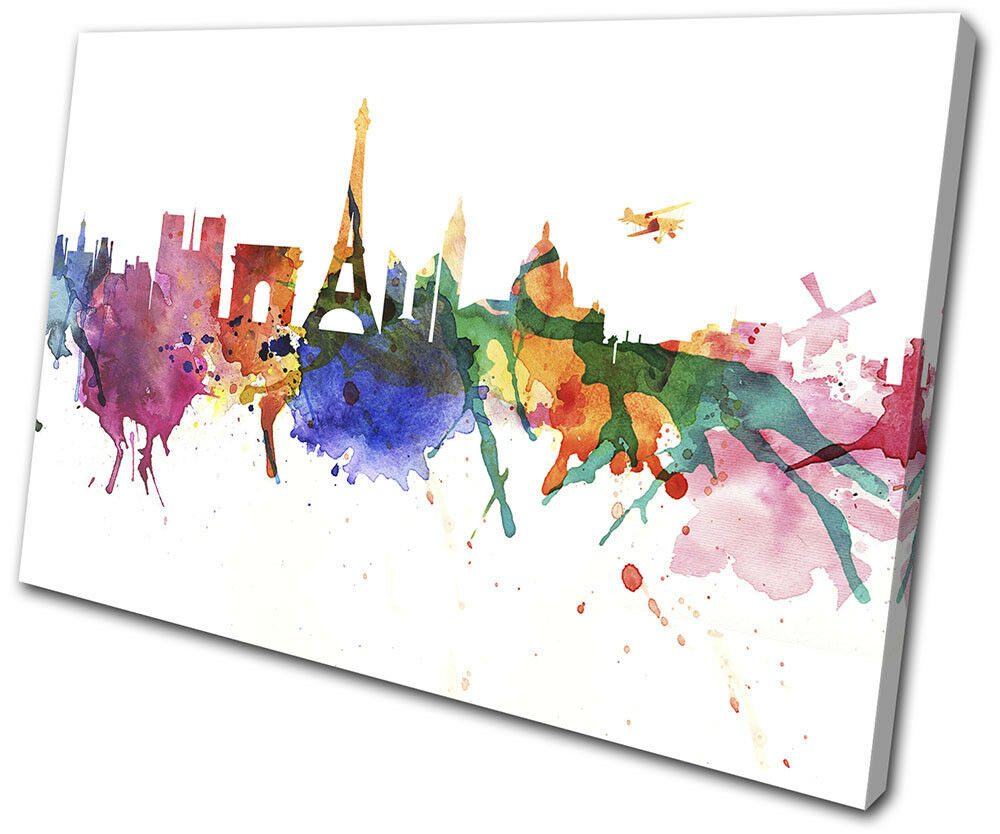 Paris Watercolour Style Abstract TOILE City SINGLE TOILE Abstract murale ART Photo Print 8ad3ed