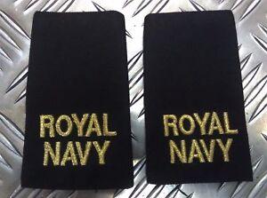 Genuine-Pair-of-British-Royal-Navy-RN-Black-Rank-Slides-Epaulettes
