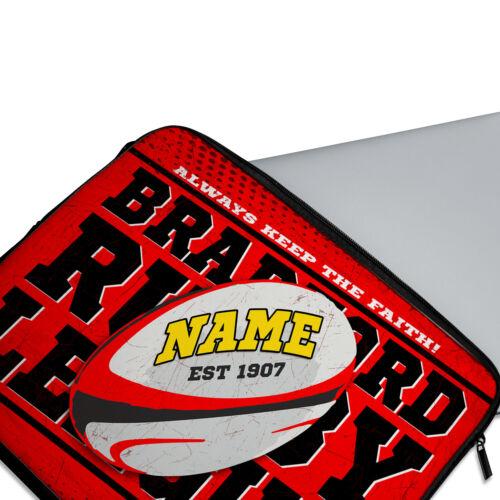 Rugby Pour Ordinateur Portable Rétro Néoprène Travel Case PERSONALISED Homme Cadeau Toutes les équipes