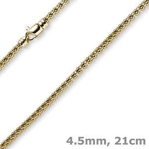 4-5mm-Himbeer-Armband-aus-585-Gold-Gelbgold-21cm-Armschmuck-Armkette-rund-Damen