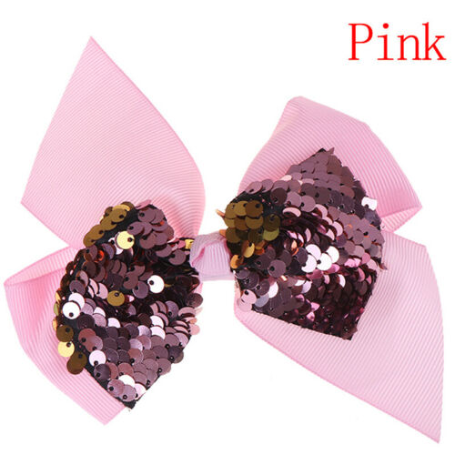 5Inch Colorful Sequin Hair Bows for Girls Shiny Kids Hair Clip Hair AccessoriDD