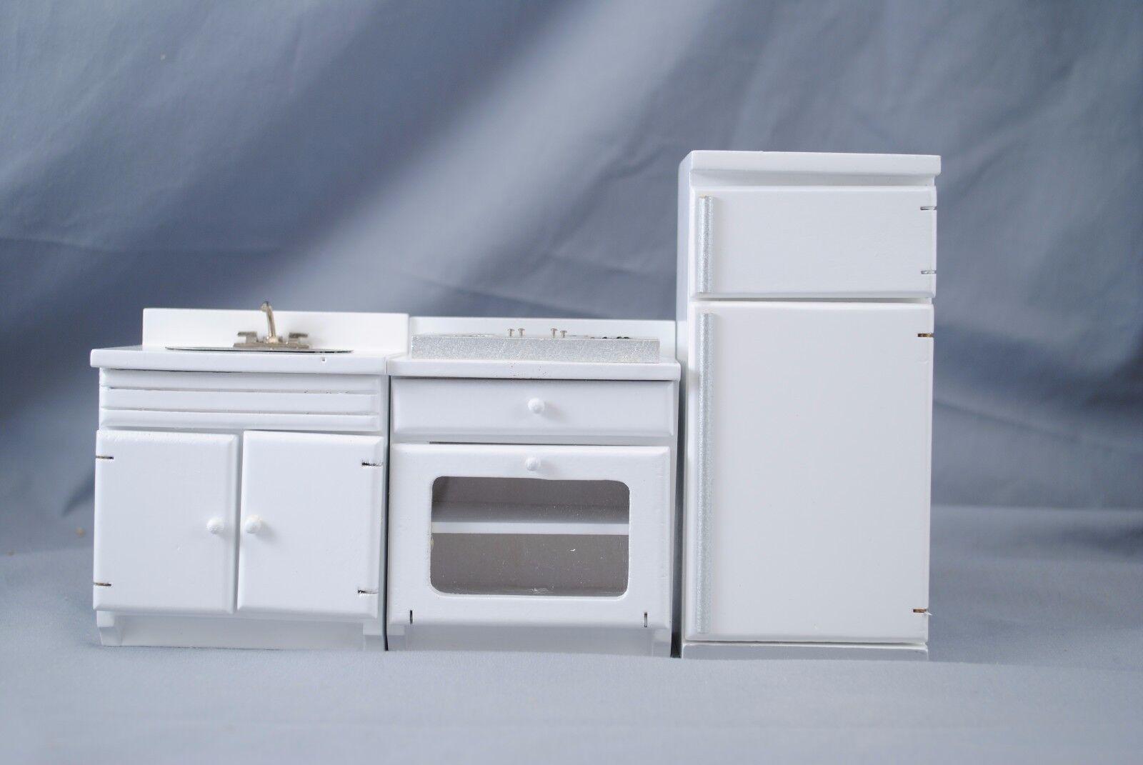 Küche Set Weiß T6489 Puppenhaus Miniatur 3pc 1 12 Maßstab Holzmöbel  | Flagship-Store