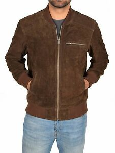 3a1e515a0 Details about Mens Real BROWN Suede Bomber Jacket Leather Sports Varsity  Baseball Casual Coat