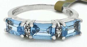 GENUINE-1-62-Carats-AQUAMARINE-amp-DIAMONDS-RING-14K-WHITE-GOLD-New-with-Tag
