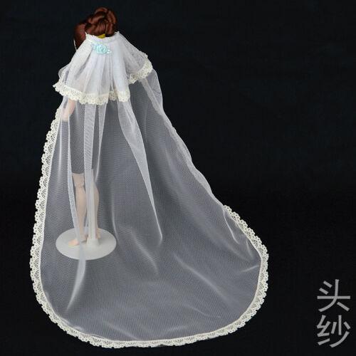 White Long Wedding Dress veil For 26-30cm kurhn Liv Changing Clothes Doll