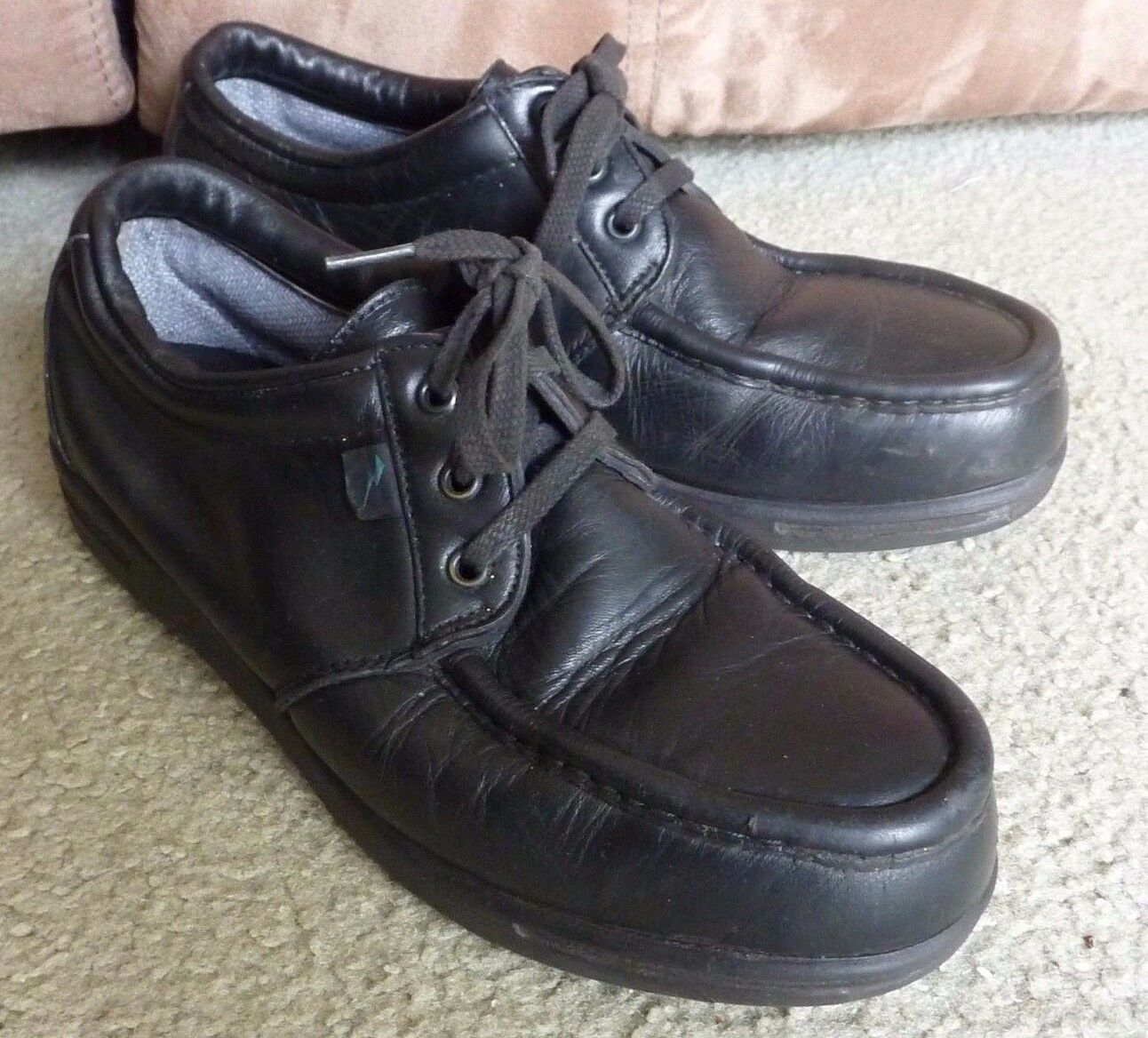 MADE IN USA SZ 9.5 D RED WINGS 6604 BLACK LEATHER STEEL MOCCASIN TOE LACE UP EC
