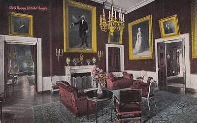 Antique POSTCARD c1910-20s Red Room White House WASHINGTON, DC 14829