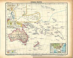 Cartina Geografica Australia E Nuova Zelanda.Carta Geografica Antica Oceania Australia E Nuova Zelanda 1939 Old