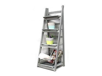 4 Tiers Wooden Rustic Decorative Ladder Decor Rack Shelf Planter Stand 116cm
