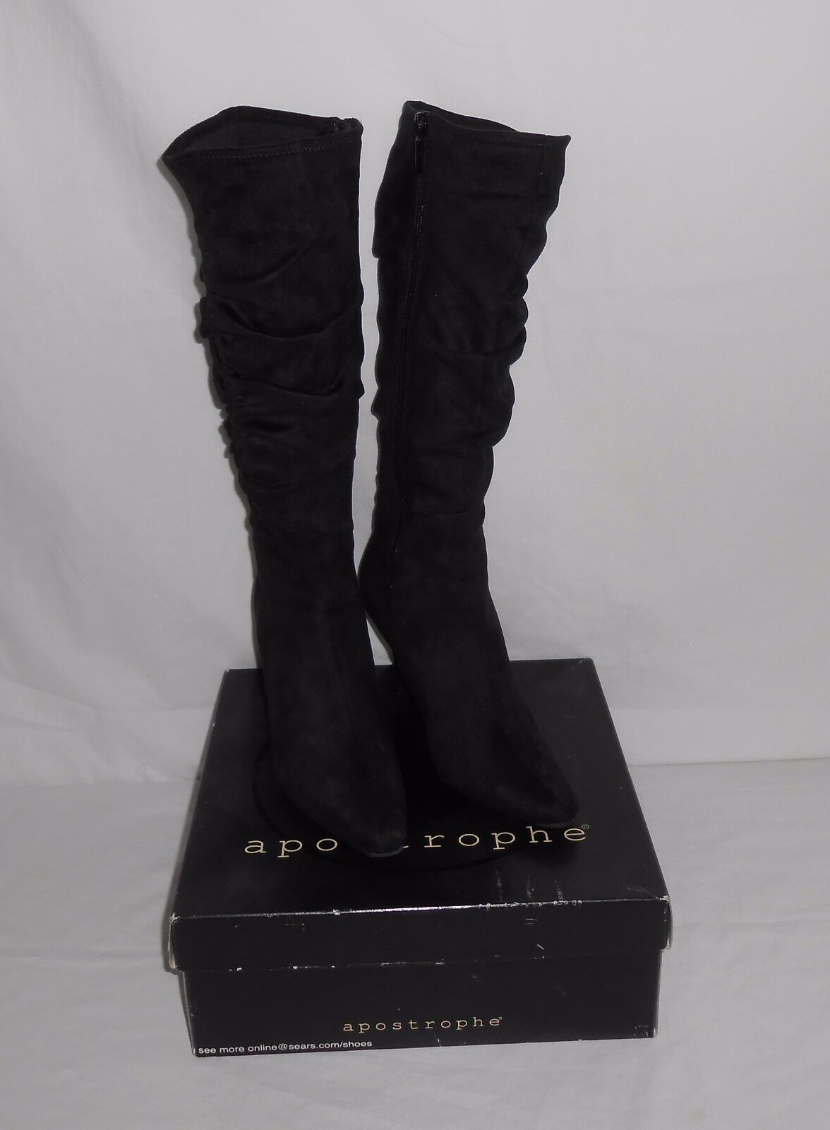 Women's Pre-Owned Sz. 6M Apostrophe Black Boulevard Zip-up Heeled Slouch Boots