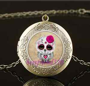 Vintage-Sugar-Skull-Owl-Photo-Glass-Brass-Chain-Locket-Pendant-Necklace