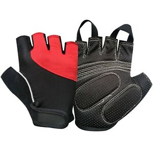 Primer-Ciclismo-Dedo-menos-Fitness-Gimnasio-completamente-caucho-Acolchado-Guantes-Negro-rojo-606