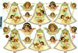 1 Bogen Glanzbilder Poesie Engel mit  Goldglimmer ef 7146 Nr.598