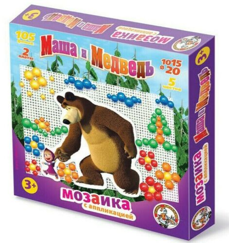Masha and the Bear 105 Elements Mosaic Pegboard Button Art Mozaika Маша Медведь