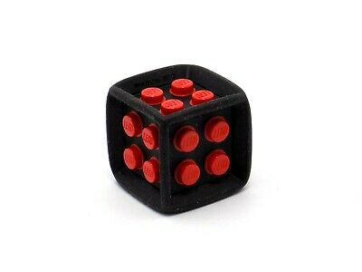 - Board Games Black Die 6 Sided Rubber Frame w// Red Center Studs - LEGO X2