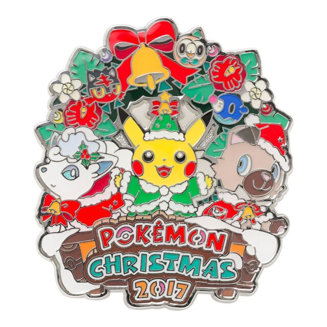 Pokemon Christmas.Pokemon Center Original Logo Pins Pin Badge Christmas 2017 Pikachu Rockruff Jp