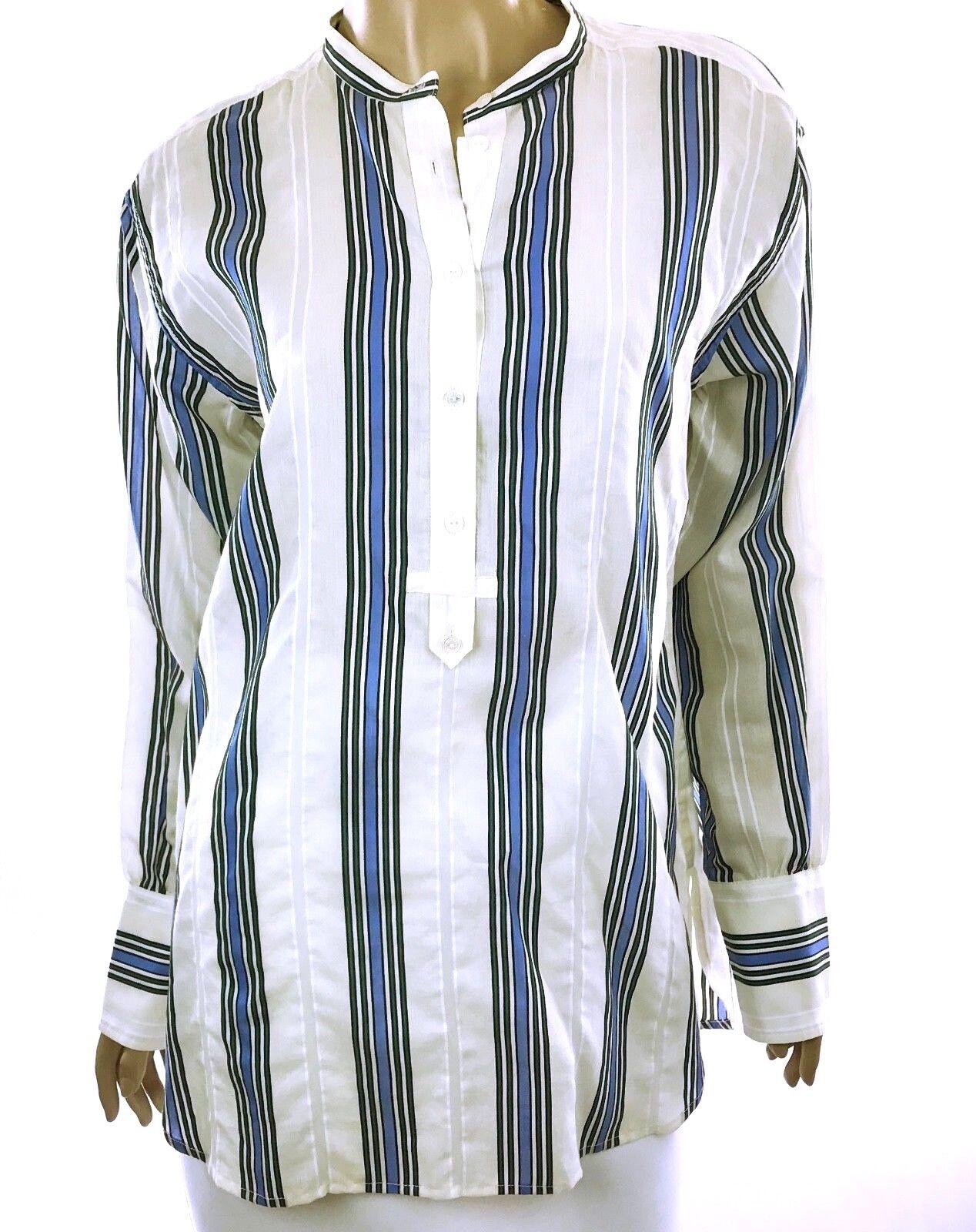 Vince New Größe 4 Tunic Top Blouse Weiß Blau Stripe Cotton Blend Long Sleeves