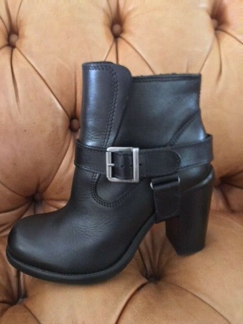 ALL SAINTS  BLACK 38  LEATHER BOOTIE Größe 38 BLACK a689ef