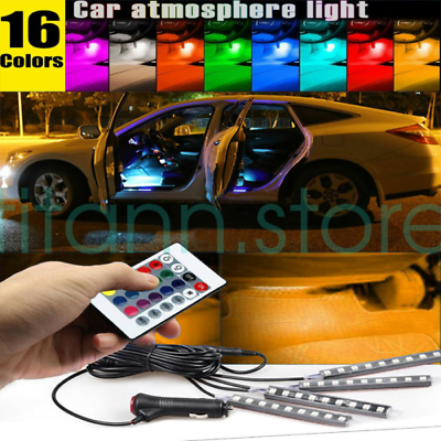 4 x 12 LED neon interior footwell decor lights strip lamp For Toyota 2016