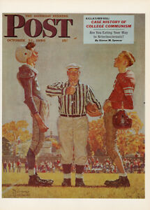 Details about Norman Rockwell Art Print Saturday Evening Post Oct 21 1950  The Coin Toss