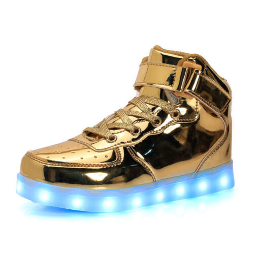 Christmas Boys Girls Luminous Casual Shoes Kids High Top 7 LED Light Up Sneakers
