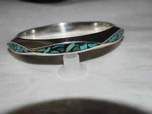 Large-heavy-Taxco-turquoise-TJ-59-inlay-Bangle-sterling-Silver-HALLMARKED-925