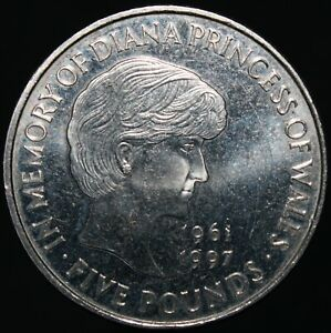 1999-Elizabeth-II-039-In-Memory-Of-Diana-039-Five-Pounds-Cupro-Nickel-KM-Coins