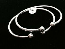 Pair Of Plain Ball Head Handmade West Indian Sterling Silver Bangles