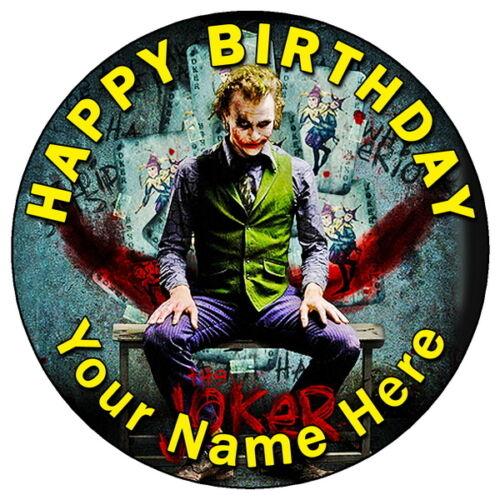 "7,5 /""Round glaçage comestible personnalisé cake topper Dark Knight Batman Joker ART"