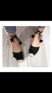 Gorgeous Ladies Black Pom Pom Wraparound Flat Espadrilles Sandals Shoes