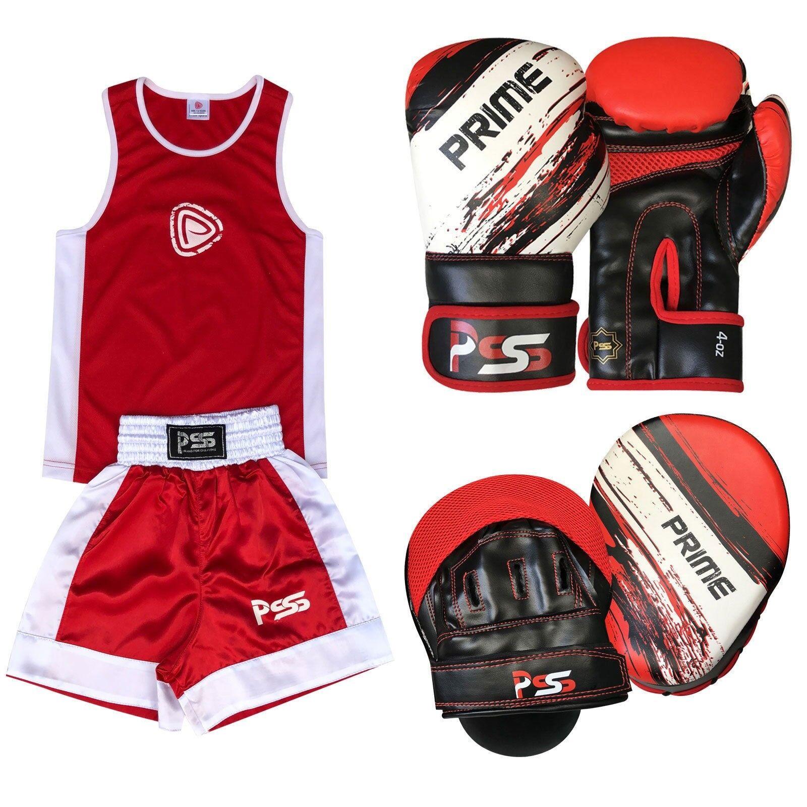 rosso Bambini Uniforme Set Di uniforme 3 PZ uniforme Di Boxe Guantoni Da Boxe Focus Pastiglie (Set - 13) 51aa8a