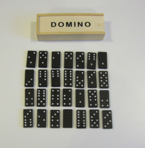 3 NEW DOMINO SETS DOUBLE SIX DOMINOES 28 PIECES PER SET WITH WOOD BOX