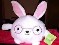 Happy Go Fluffy White W Pink Ears Easter Bunny Plush Stuffed Animal Rabbit 4