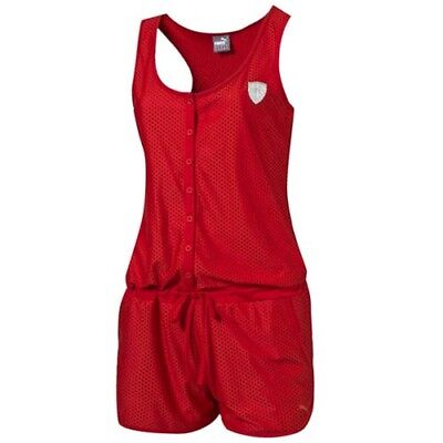 Puma SF Ferrari Rosso Corsa Red Sleeveless Shorts Womens Jumpsuit 570699 02 R6F