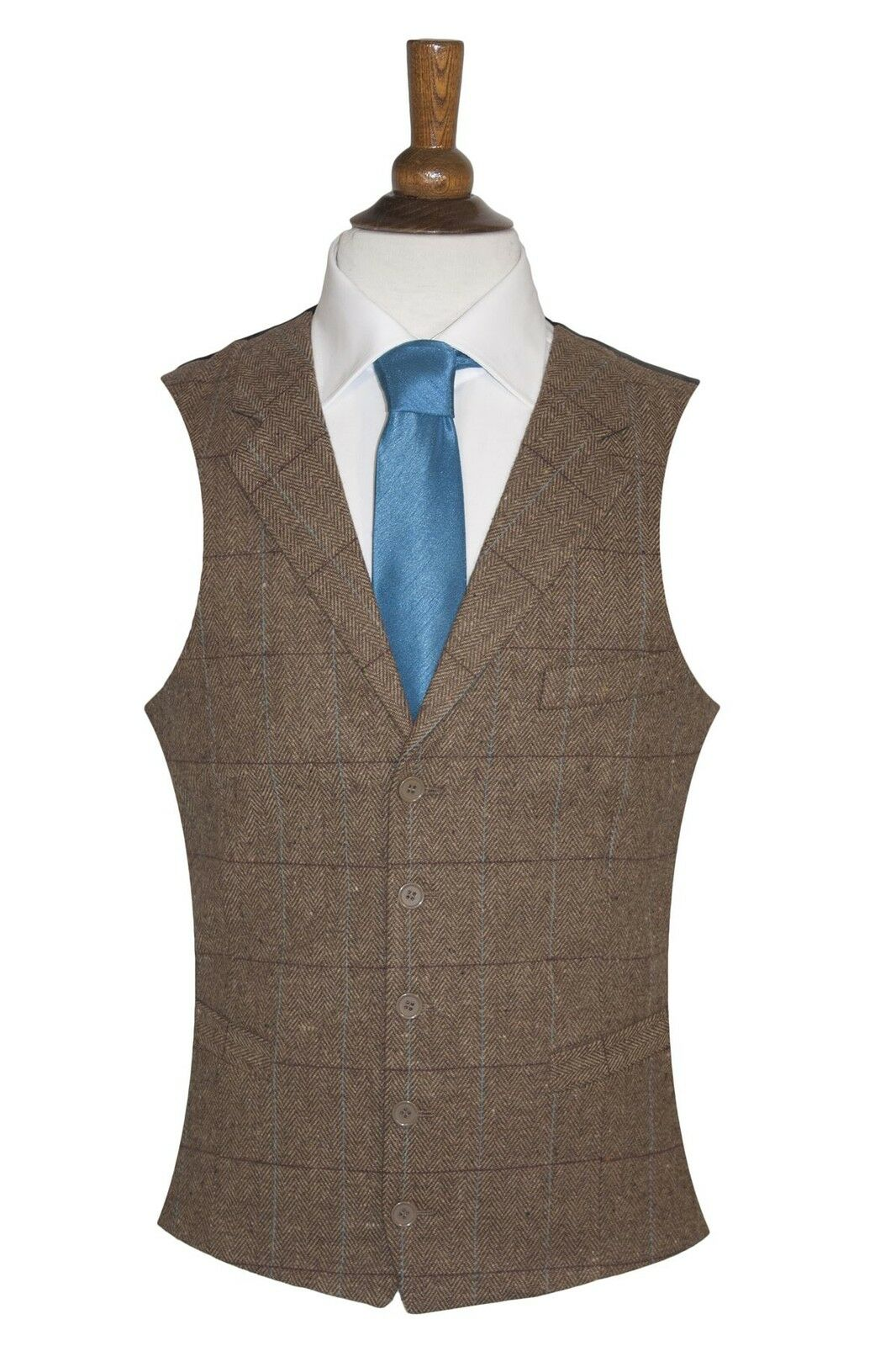 Men's Lloyd Attree & Smith Wool Handle Herringbone Waistcoat - Collared - Brown