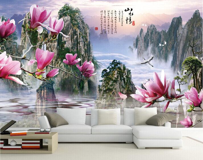 3D Magnolienblume Berg 72 Tapete Wandgemälde Tapete Tapeten Bild Familie DE