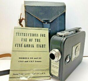 Vintage-Cine-Kodak-Eight-Model-25-w-Original-Case-amp-Manual-1930s-UNTESTED