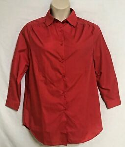Womens-Roamans-Plus-Size-S-Top-1X-Measurements-44-Bust-Button-Up-Tunic-Red