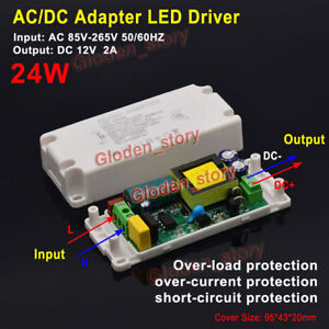 ac dc 110v 220v 230v to 12v 2a 24w converter led driver. Black Bedroom Furniture Sets. Home Design Ideas