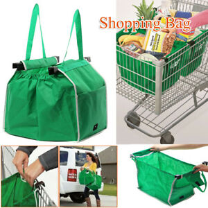 Foldable-Reusable-Grocery-Large-Trolley-Clip-To-Cart-Supermarket-Shopping-Bag