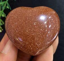 62g Beautiful golden sand crystal Heart shape Stone Healing.