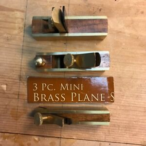 Mini-Brass-Plane-Set-3-Pc-Used-brass-and-rosewood-ideal-for-hobby-work