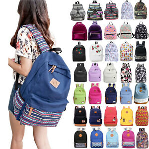 db4c7ea26aac Image is loading Womens-Girls-Canvas-School-Backpack-Shoulder-Bag-Travel-