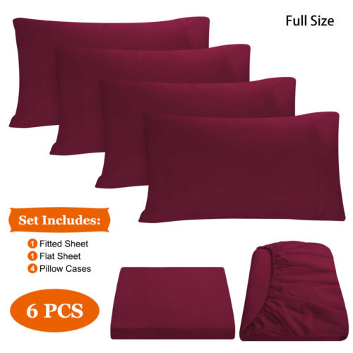 6PCS Bed Sheet Full Size Duvet Cover 1Flat//1Fitted//4 Pillowcase Deep Pocket SET
