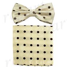 New Men/'s Microfiber Pre-tied Bow Tie /& Pocket Square Hankie Cream Brown Dots
