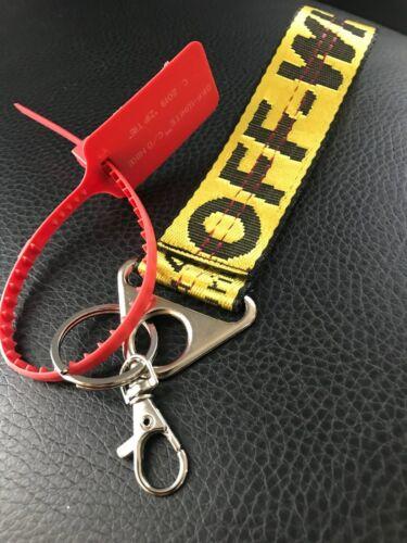 Blanc cassé Ceinture Keychain jaune avec étiquette option